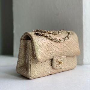 Chanel python gold new mink bag